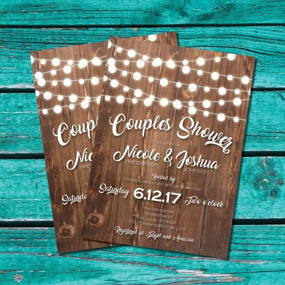 couple shower invitation bridal shower invite rustic shower country wedding string lights printable invitation instant download countryweddings