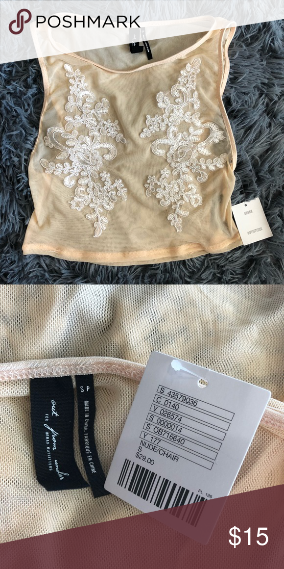 27be9959de64e Urban Outfitters Mesh Lace Crop Top Urban Outfitters  Out From Under  Mesh Lace  Crop Top. Cream color with white lace details. New with tags!!