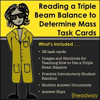 Practice Reading A Triple Beam Balance To Determine Mass Task Cards Task Cards Task Reading