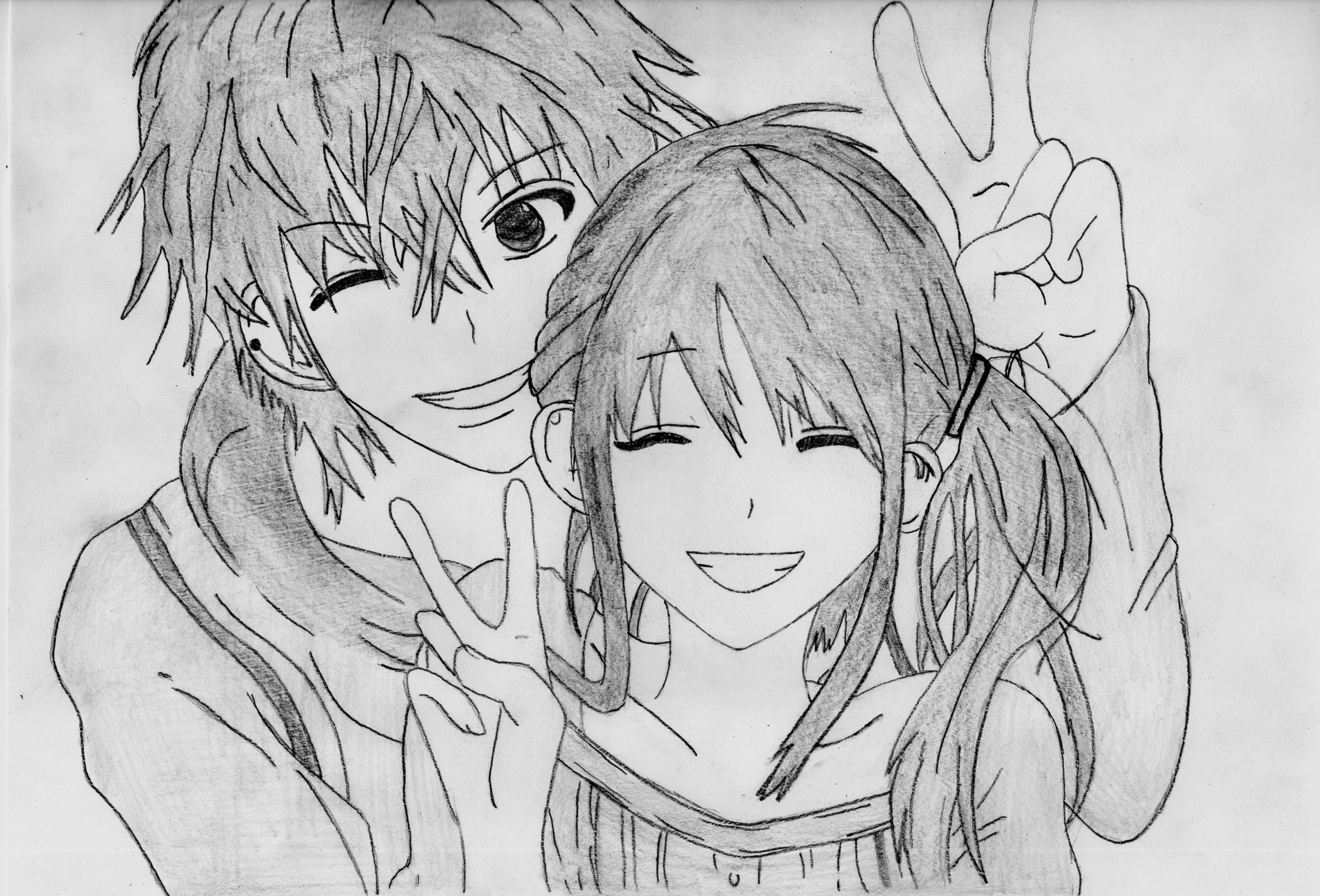 Cute Couple Anime Sketch