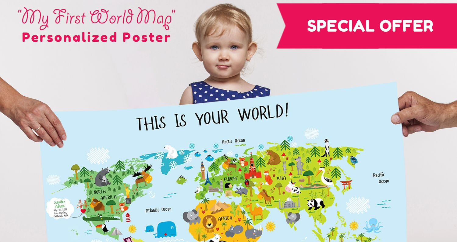 Unique baby gift personalized world map laminated poster by unique baby gift personalized world map laminated poster by pictureta negle Images