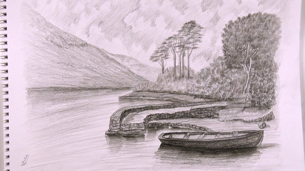 How To Draw A Boat In Pencil Landscape Drawing Landscape Drawings Abstract Artwork Art
