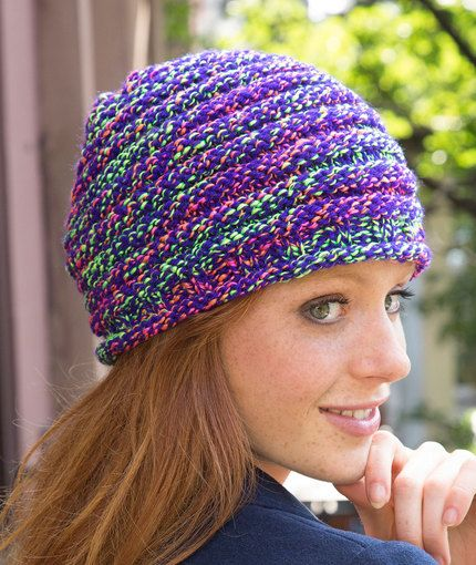 Bright In-Style Hat Free Knitting Pattern in Red Heart Yarns - Great ...