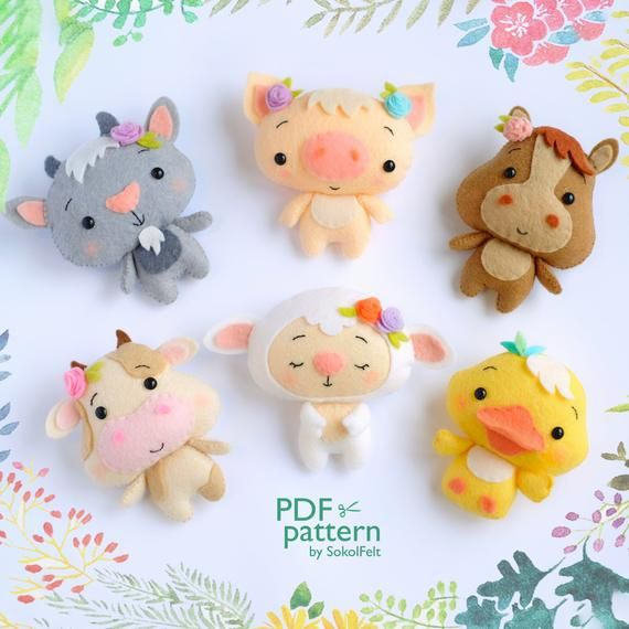 Felt Baby Duck Toy Sewing Pdf Pattern Cute Farm Animal Felt