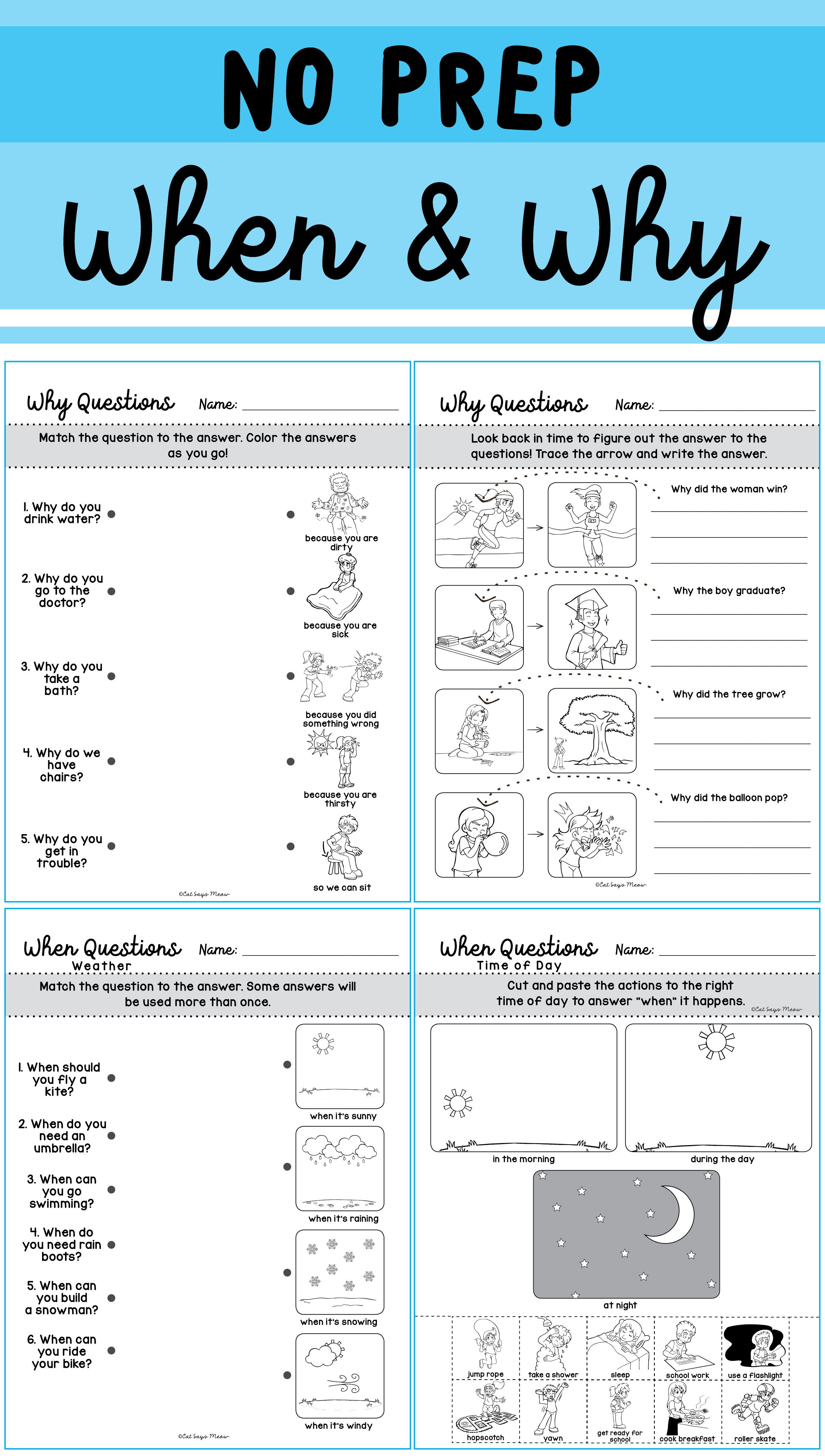 No Prep When Amp Why Questions Worksheets Homework Print
