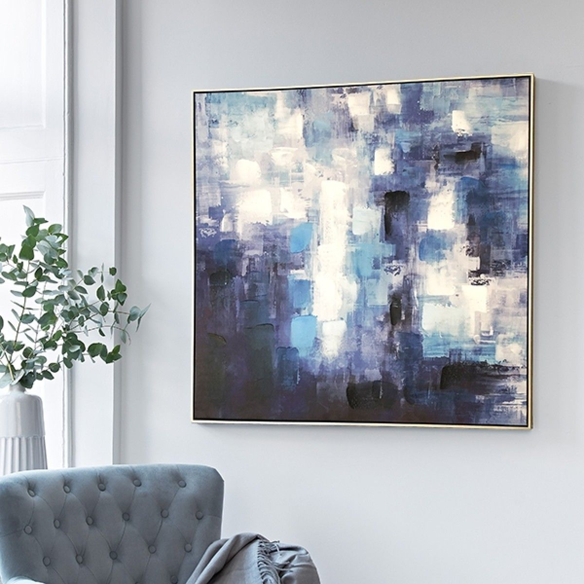 Clear skies silver frame abstract canvas wall art silver