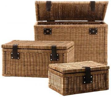 liam trunks set of 3 wicker basket storage baskets with lids storage basket. Black Bedroom Furniture Sets. Home Design Ideas