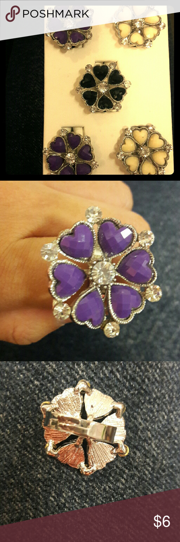 Heartpetal shape flower ring. Adgustable heart petal shape flower ring. Available in  Black White  Purple. Jewelry Rings