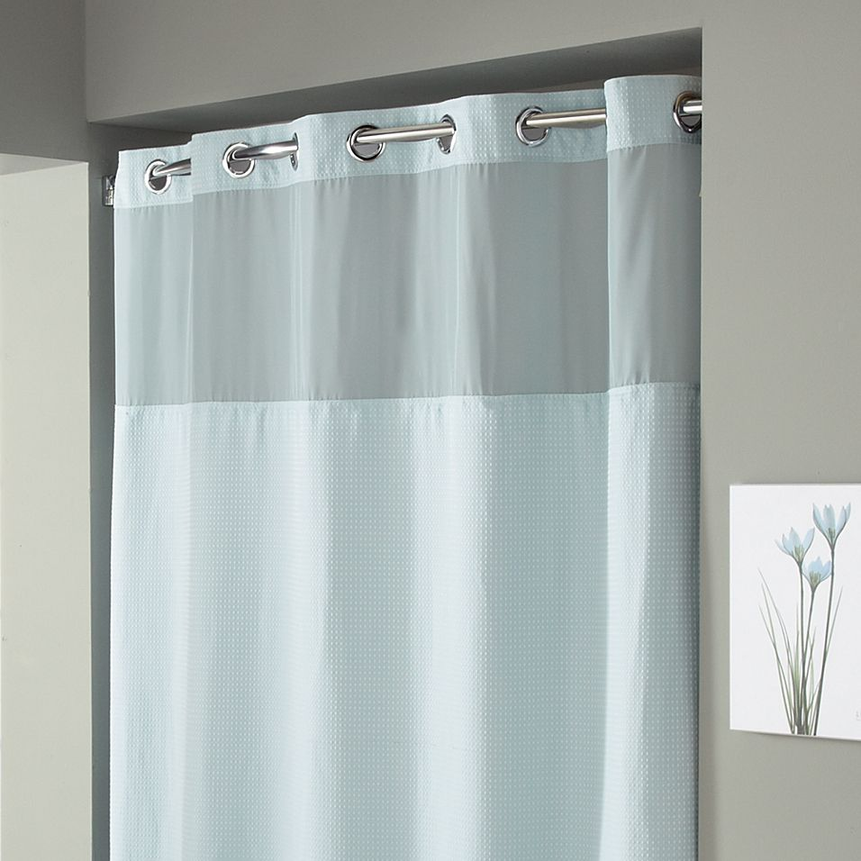 Hookless Waffle 54 X 80 Stall Fabric Shower Curtain In Mist Blue In 2020 Fabric Shower Curtains Long Shower Curtains Hookless Shower Curtain