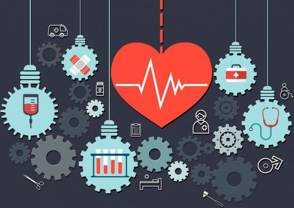 Medical Background Heart Gears Lightbulbs Icons Tools Medical Background Photo Booth Design Medical