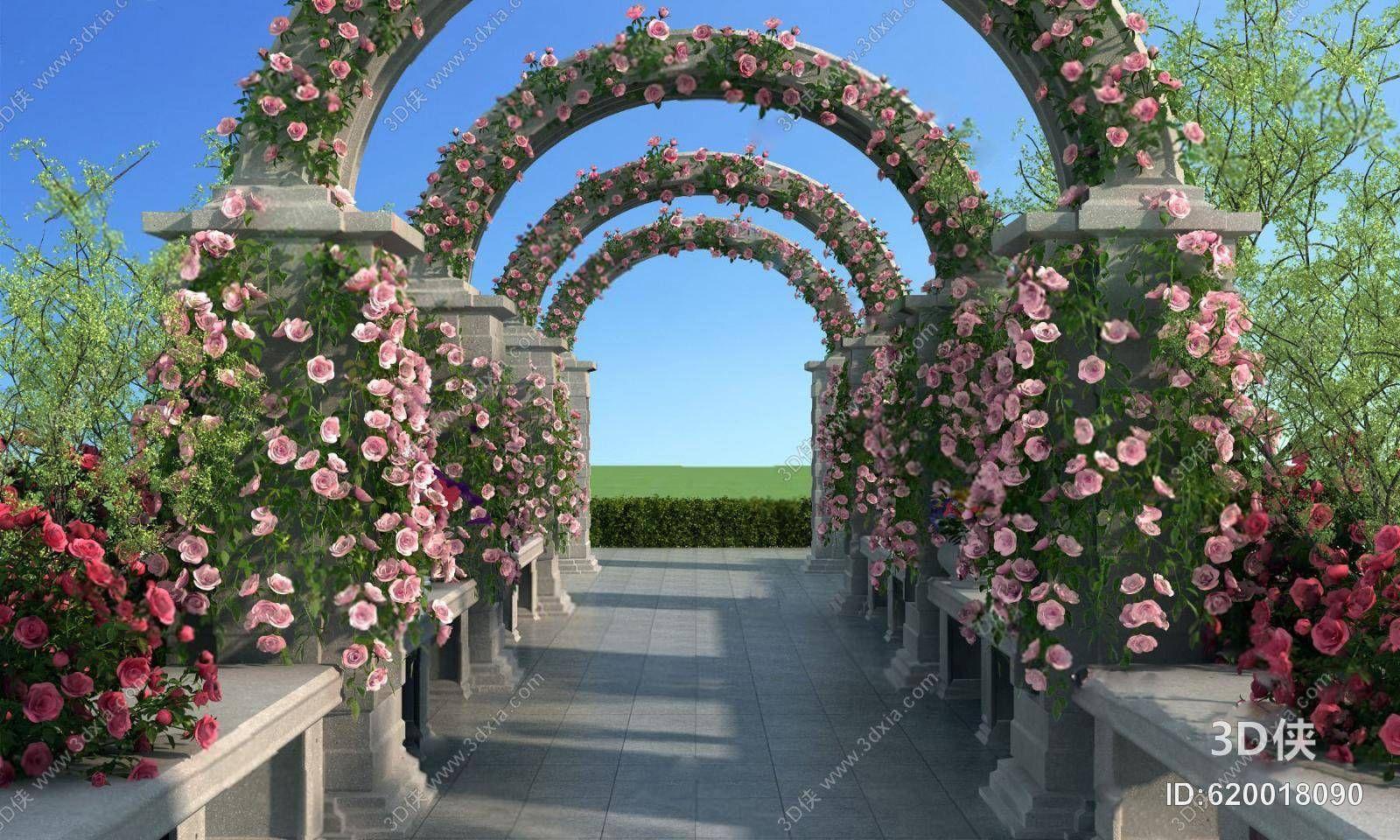 Outdoor Aisle 3d Model Outdoor Garden Arch Outdoor Structures