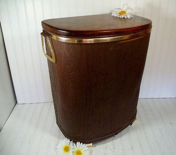 Vintage Oversized Dark Brown Wicker Wood Clothes Hamper Mid
