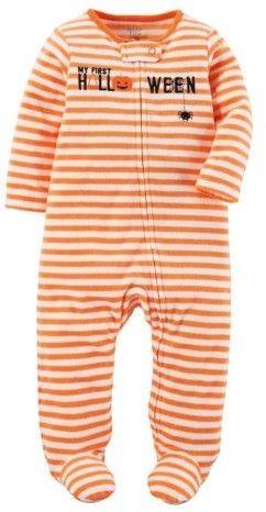 Baby Girl Boy My first halloween feetie pajama fleece pumpkins