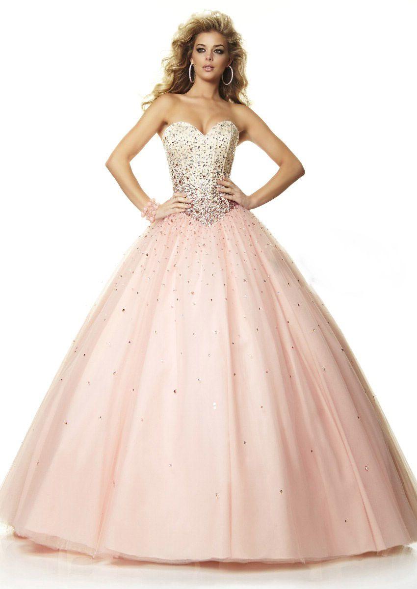 Wishesbridal luxury beaded pink sweetheart floor length tulle ball