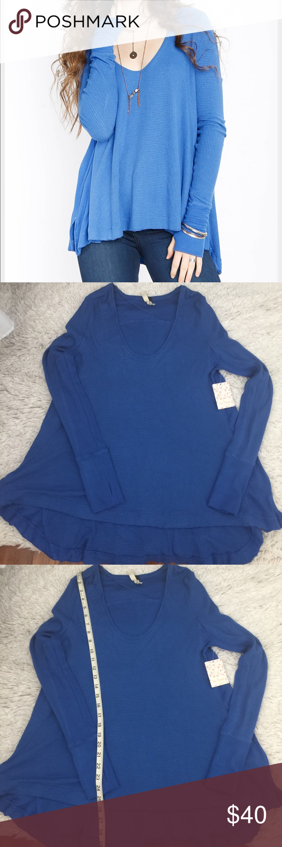 🦋NWT Free People Malibu blue thermal, size s 🦋NWT Free People Malibu thermal, size s, color BLUE.Picture # 5 just to show the back. Free People Tops Tees - Long Sleeve