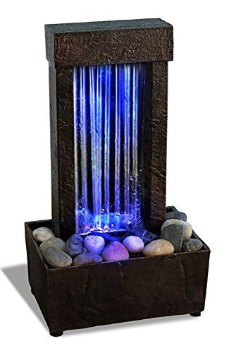 Mirrored Waterfall Light Show LED Fountain ***Adapter Included ***  Beautiful Crafted Artistry Natural River Rocks Included Dual Power Batteries  Operated ...