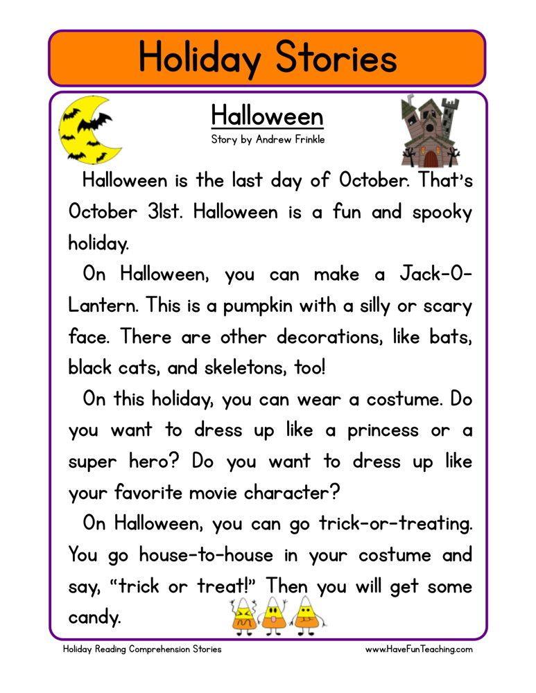 Halloween Reading comprehension worksheets, Halloween