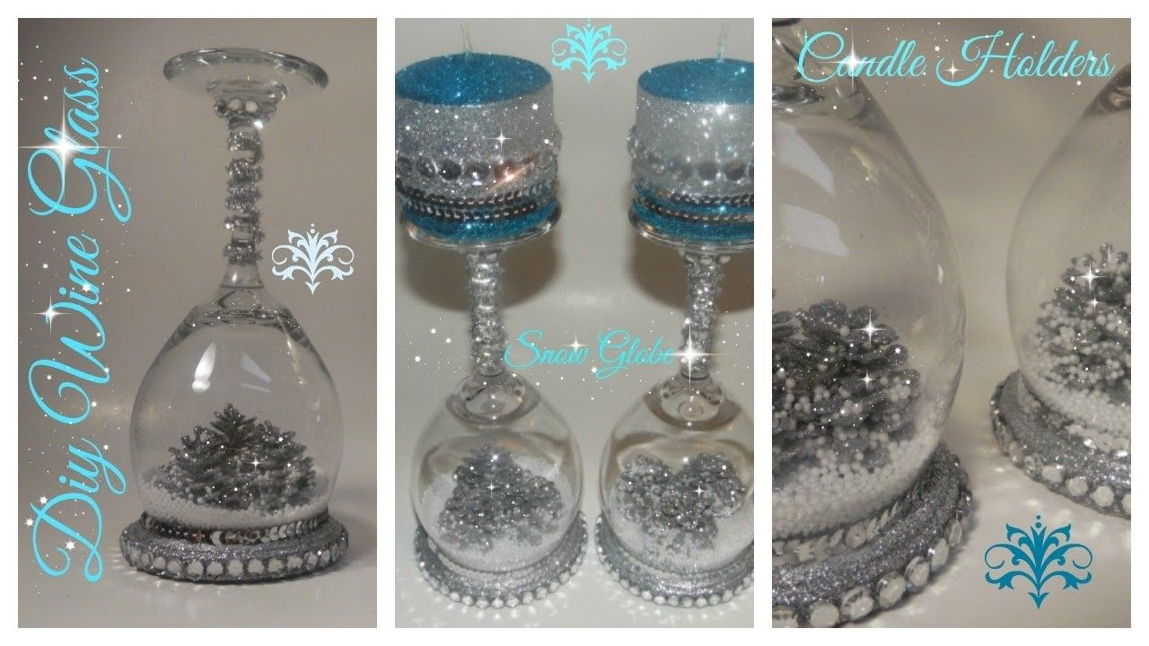Diy wine glass snow globe candle holder dollar tree michaels