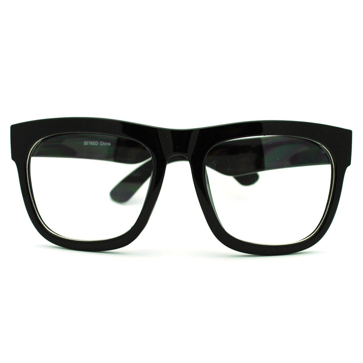 bb1a1455a55f Amazon.com  Black Oversized Wayfarer Square Glasses Thick Horn Rim Clear Lens  Frame  Clothing