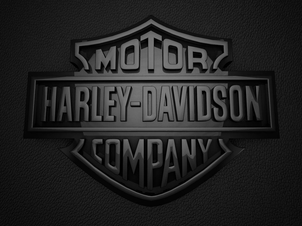 Shiny black Harley Davidson logo in 3D, Harley davidson