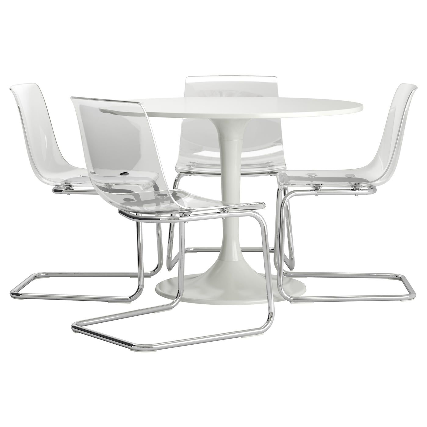 DOCKSTA / TOBIAS Table and 4 chairs, white, transparent. Find it here - IKEA