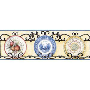 Blue Mountain Plate Wallpaper Border Decorative Wallpaper Companies Wallpaper Border Antique Tiles