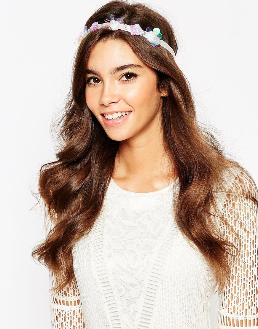 Hair accessories headbands uk - Image 1 Of Asos Holographic Flower Cluster Ribbon Headband Ribbon Headbandsasos Ukflower Designsfur Coathair Accessoriessequinsrangesmermaidribbons