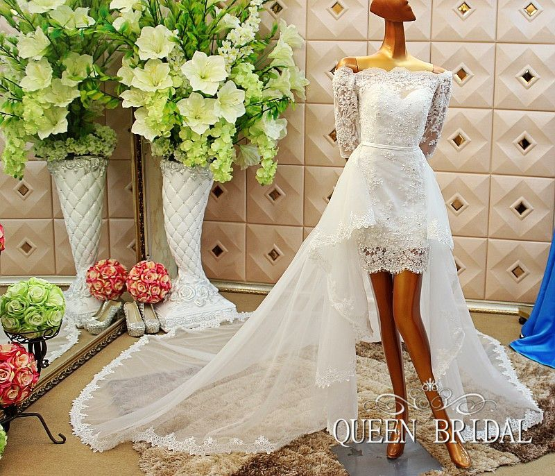 Wedding Dresses With Detachable Tail: A-line-short-wedding-dress-with-removable-skirt-detachable