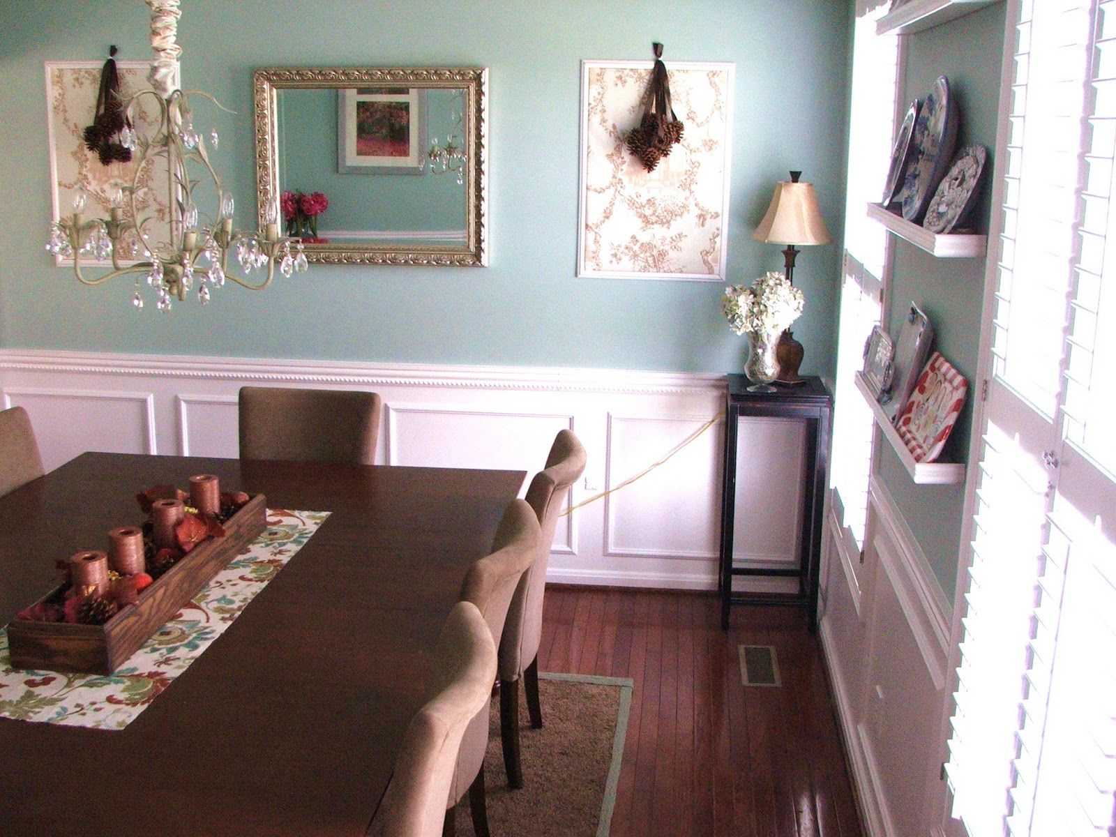 Finelooking Wall Mount Open Shelves At Blue Wall Painted And Amusing Wainscoting For Dining Room Decorating Design