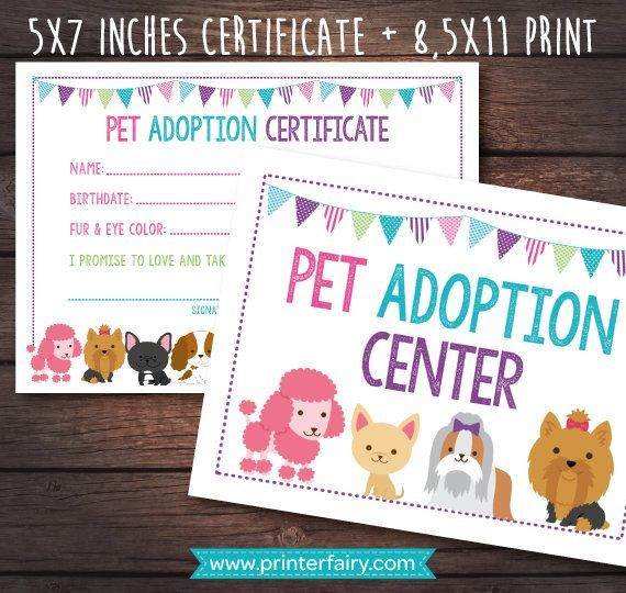 Pet Adoption Certificate, Pet Adoption Birthday Party, Puppy Birthday, Printable Certificate,... #petadoption