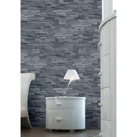Plaquette de parement Quartzite sans joint en pierre naturelle, noir - joint noir salle de bain