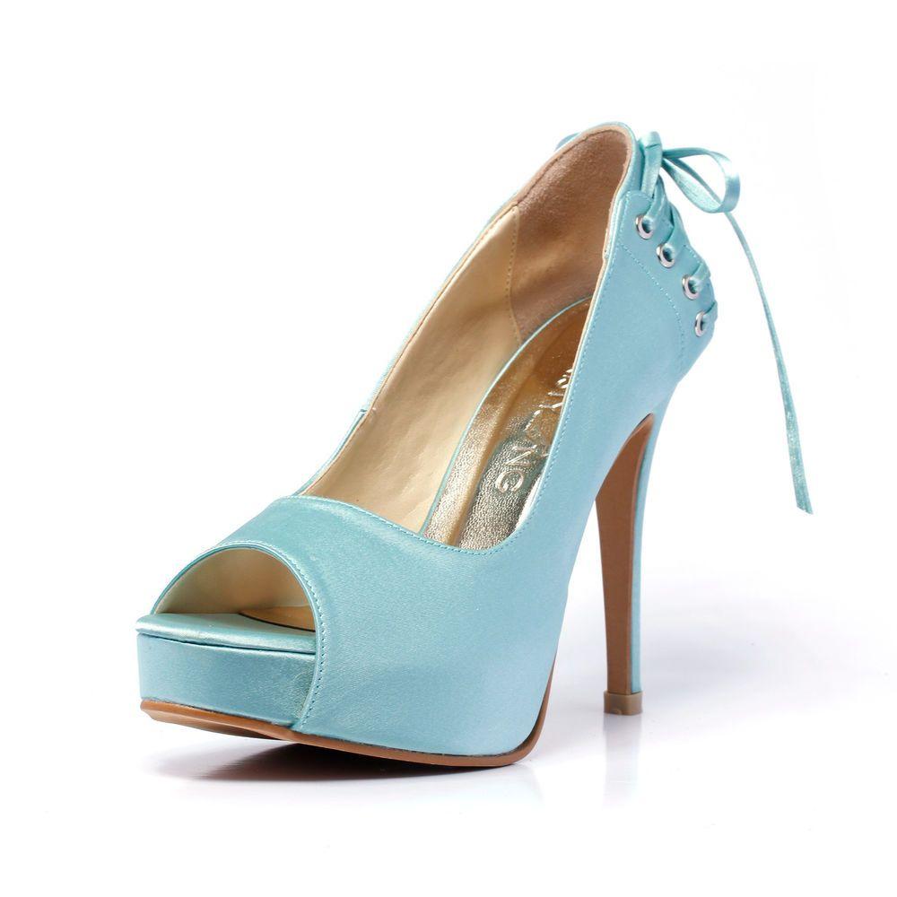 Blue Peep Toe Platform Laced Wedding Shoe With Bow Something Blue