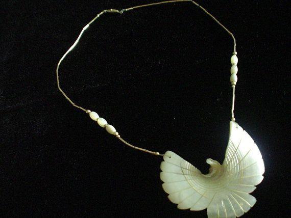 Vintage Rhinestone Necklace  Pearlized Eagle  by VintageJewelryEtc, $9.00