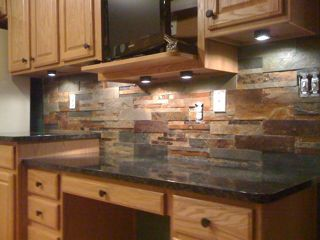 Uba Tuba Granite With Cut Slate Tile Backsplash Great Kitchen Idea