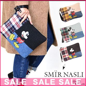 Sammy luna pickpocket (SMIR NASLI) mail order Disney collaboration! (reservation) (going to be received the beginning of December )Check Mickey Clutch clutch bag Mickey character check denim Lady's blog (0105-11580))