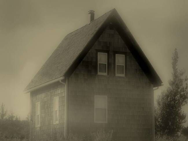 """""""The Shroud"""" by RC deWinter, Haddam, CT // © 2010 RC deWinter ~ All Rights Reserved  ~~  Clouds, fog and ocean mist are wrapping this cottage in shroud-like shadow. Sepia photograph shot on Prince Edward Island, Canada in September 2003. // Imagekind.com -- Buy stunning, museum-quality fine art prints, framed prints, and canvas prints directly from independent working artists and photographers."""