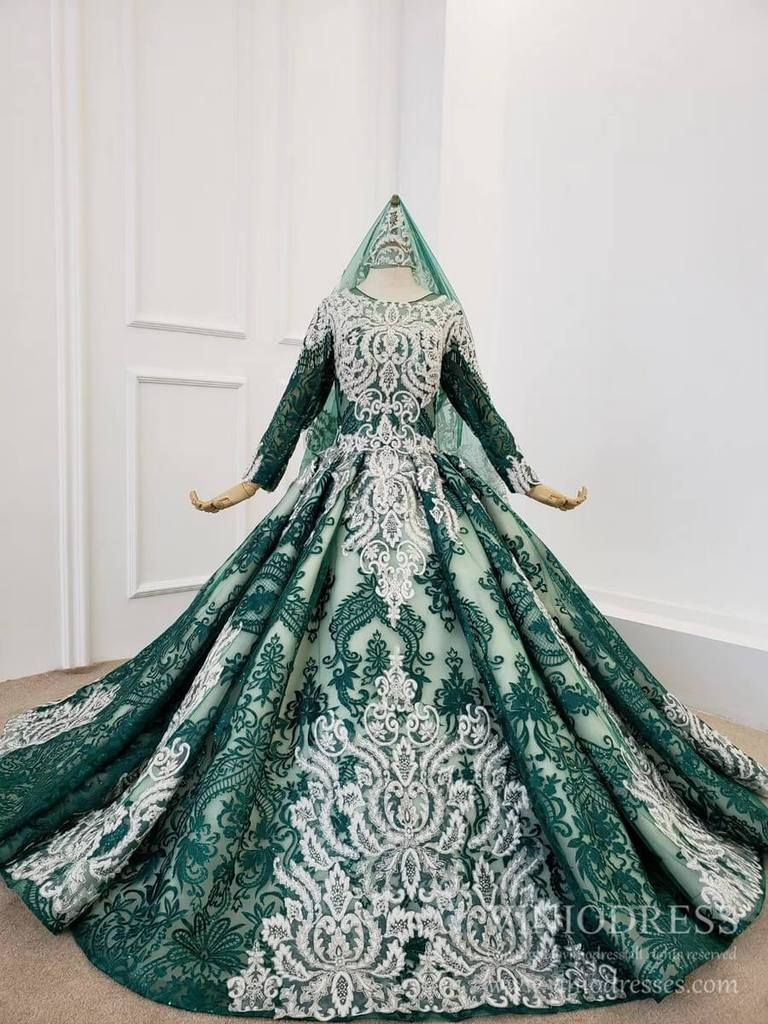 Long Sleeve Dark Green Lace Ball Gown Muslim Formal Dresses With Veil Fd1859b Formal Dresses Lace Ball Gowns Formal Dresses For Weddings [ 1024 x 768 Pixel ]