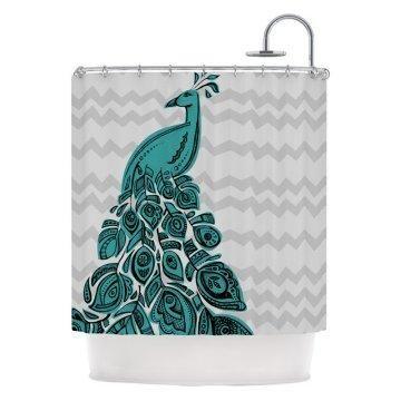 Peacock Chevron Striped Shower Curtain