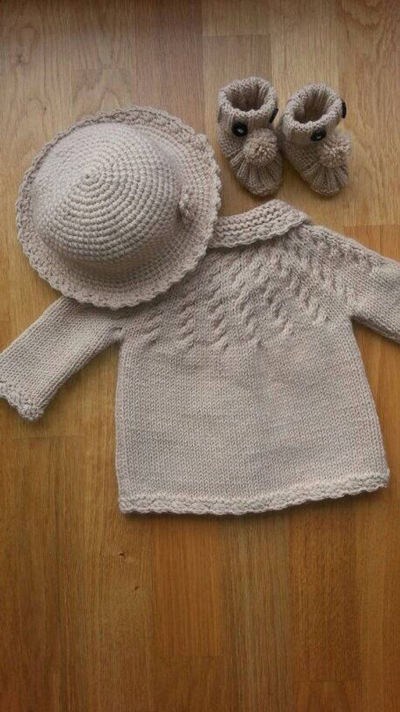 eb77c8798 Cream Baby Girl Cardigan Hat Bootie