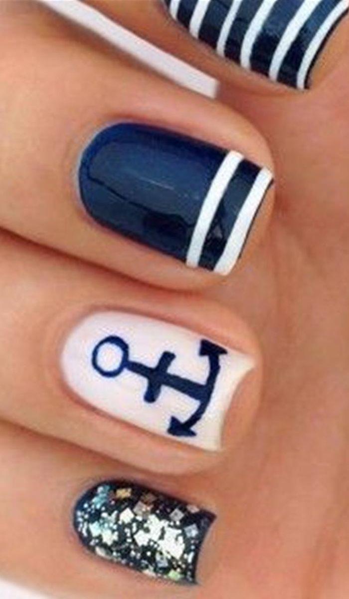 26 Cute Anchor Nail Art Designs   Pinterest   Anchor nail art, Anchor nails  and Makeup - 26 Cute Anchor Nail Art Designs Pinterest Anchor Nail Art