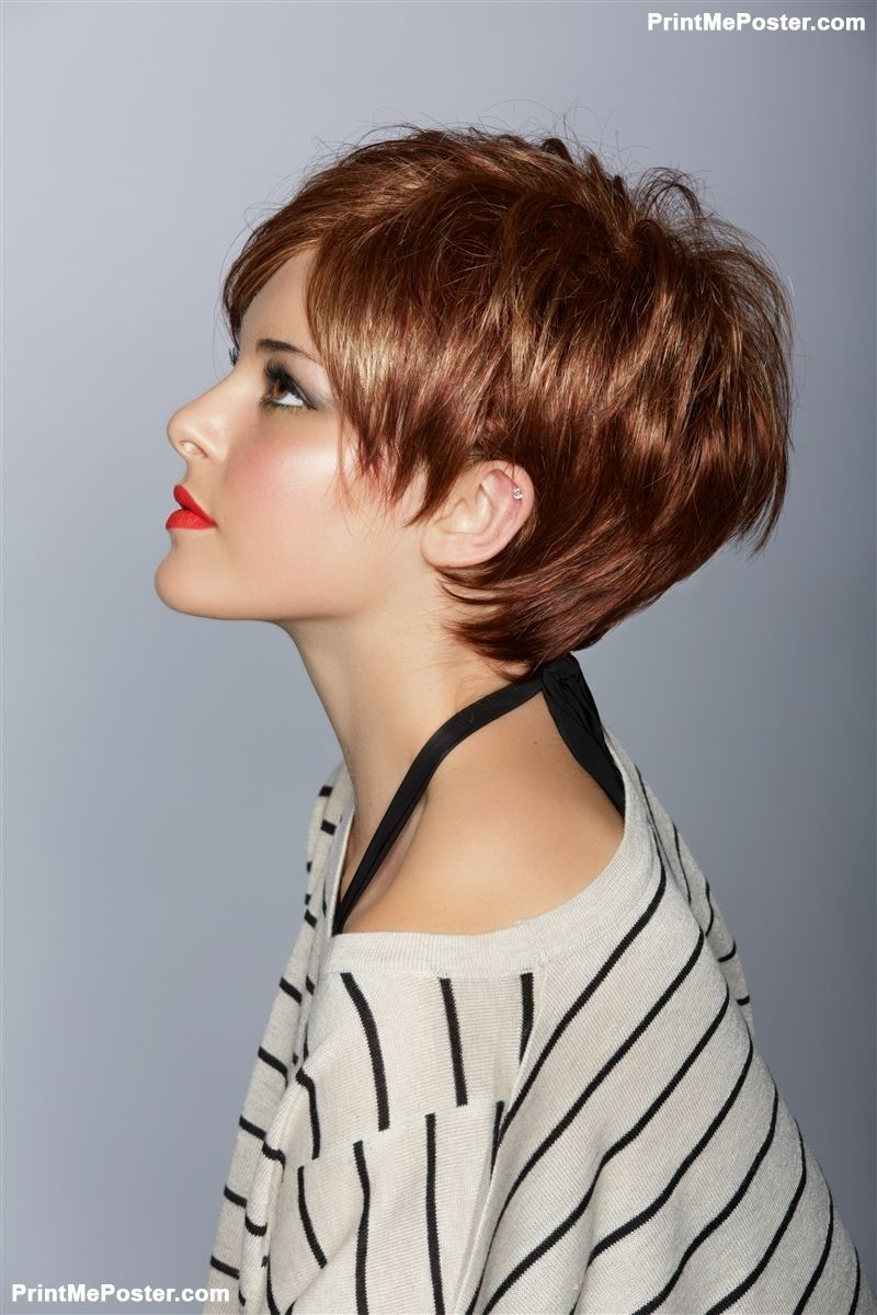 Profile of a beautiful woman with red lips and short feathered red