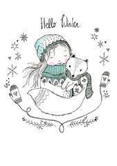 Hello Winter  Postkarte von Marieke ten Berge