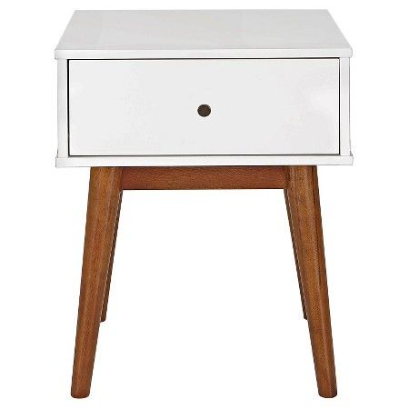 Porter Mid Century Modern Two-Tone Side Table -White/Brown - Porter Mid Century Modern Two-Tone Side Table -White/Brown