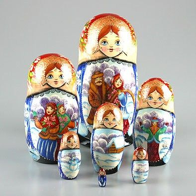 This set of 7 attractive nesting doll is imported directly from Russia. It is hand-carved from birch wood and hand painted by Russian artist. Open it up and it reveals a set of smaller dolls inside showing winter scenes. Features a gloss finish. Makes a great gift or home decoration.