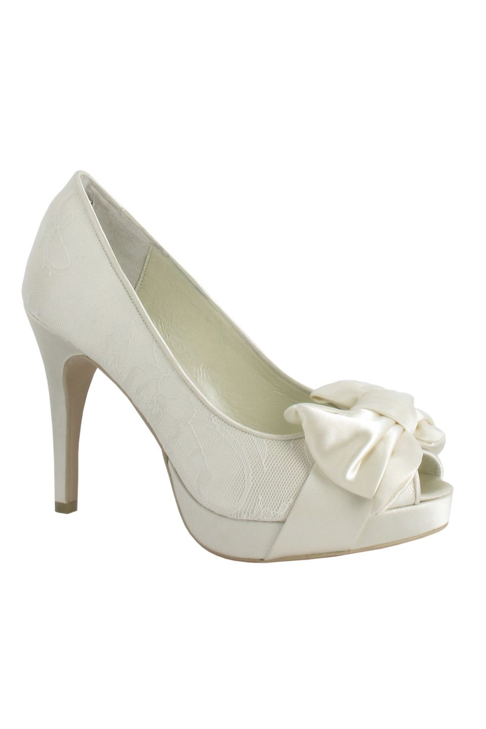 6649a6576cec Menbur - Lace Bridal Pumps with Bow in Ivory