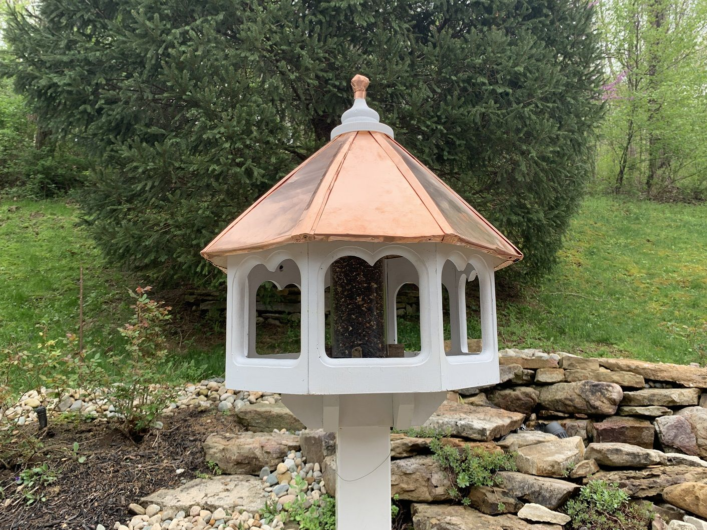 This Birdhouse Was Restored With A New Copper Roof Using Our 30 Gauge Copper Sheeting Bird Houses Copper Roof Copper Birdhouses