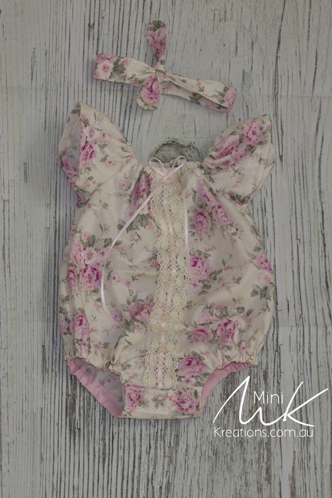 Soft Pink Shabby Chic Roses Onesie/Romper Newborn OOO or Reborn doll