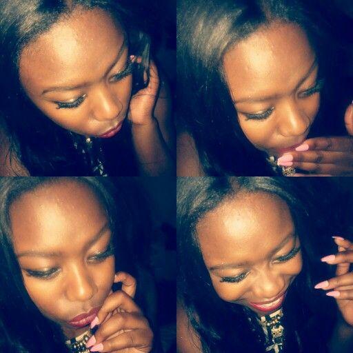 Pgs red matte lipstick eyelashes nails beauty playful happy