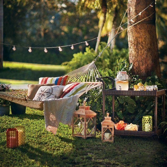 Relaxing furniture in a garden.