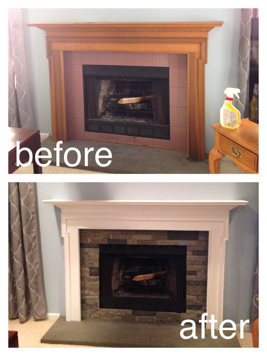 Completely Redid Our Family Room Fireplace In Just A Half Day Gave The Mental A Fresh Coat Of Paint And R Home Fireplace Family Room Design Fireplace Makeover